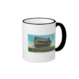 Vista exterior de la casa de bloque del período taza de café