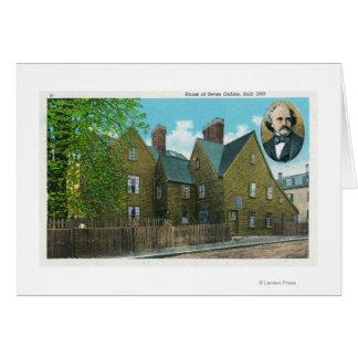 Vista exterior de la casa de siete aguilones # 2 tarjeta de felicitación