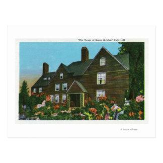 Vista exterior de la casa de siete aguilones tarjeta postal