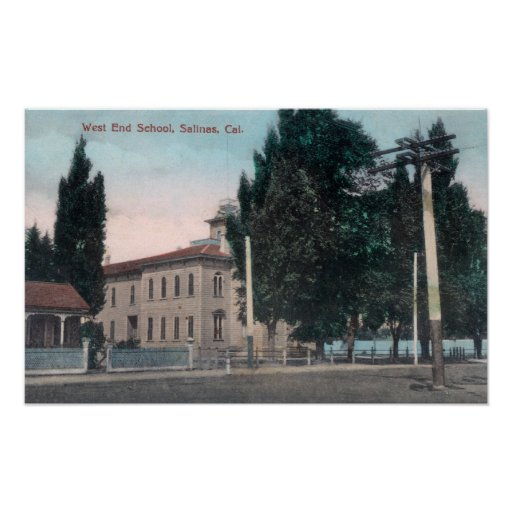 Vista exterior de la escuela del West End Poster