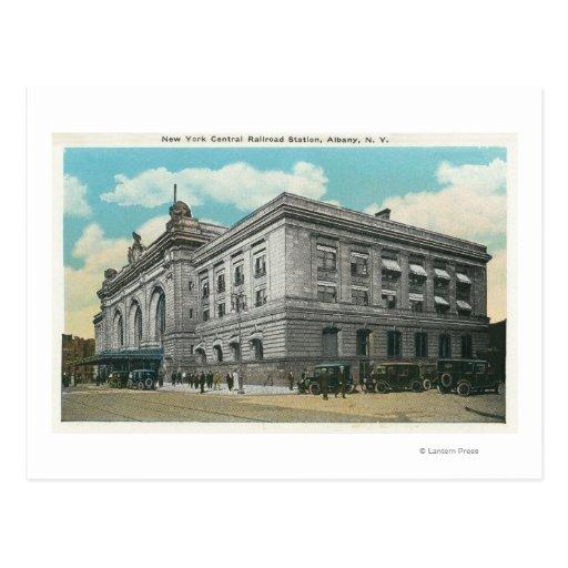 Vista exterior de la estación de ferrocarril tarjeta postal