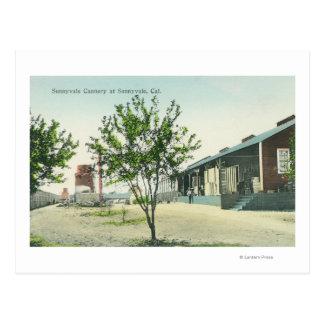 Vista exterior de la fábrica de conservas de tarjetas postales