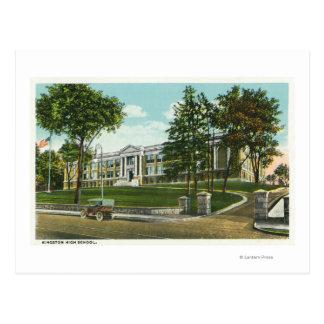 Vista exterior de la High School secundaria de Kin Tarjeta Postal