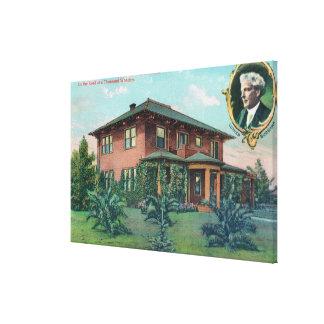 Vista exterior de la residencia de Luther Burbank Impresión En Tela
