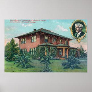Vista exterior de la residencia de Luther Burbank Posters