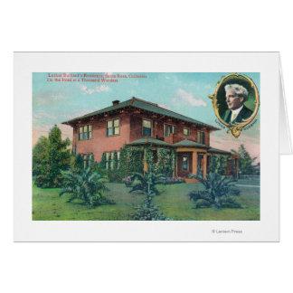 Vista exterior de la residencia de Luther Burbank Tarjeta De Felicitación