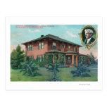 Vista exterior de la residencia de Luther Burbank Tarjeta Postal