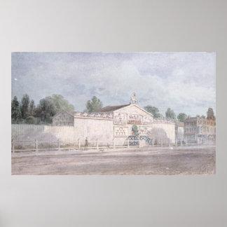 Vista exterior del Amphitheatre de Astley, 1777 Posters