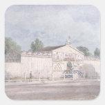 Vista exterior del Amphitheatre de Astley, 1777 Pegatina Cuadrada