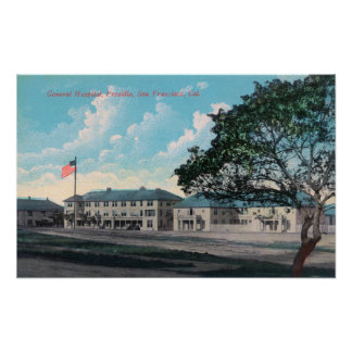 Vista exterior del Hospital General, Presidio Poster