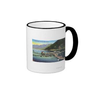 Vista general de la bahía de herradura y del puert tazas de café