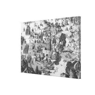 Vista general de la batalla de Muhlberg Lona Estirada Galerías
