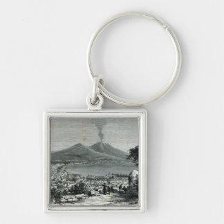 Vista general de Nápoles Llavero Cuadrado Plateado