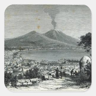 Vista general de Nápoles Pegatina Cuadrada