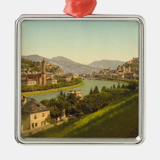 Vista general de Salzburg, Austria Adorno Navideño Cuadrado De Metal