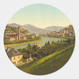 Vista general de Salzburg, Austria Pegatina Redonda