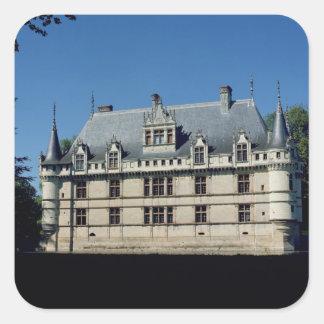 Vista general del castillo francés pegatina cuadrada