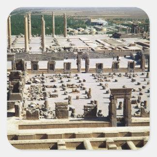 Vista general del palacio, período de Achaemenian Calcomanías Cuadradass Personalizadas