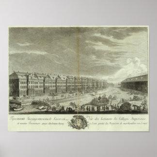 Vista grabada de St Petersburg 2 Póster