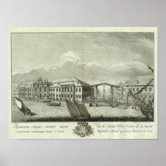 Vista grabada de St Petersburg 4 Póster