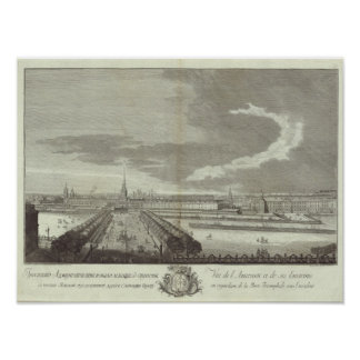 Vista grabada de St Petersburg 5 Póster