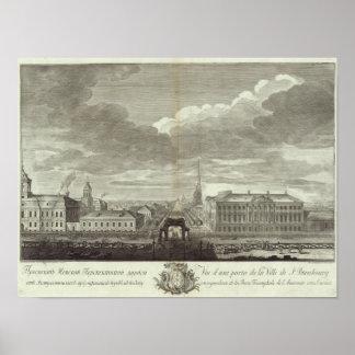 Vista grabada de St Petersburg 6 Póster