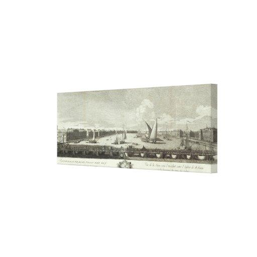 Vista grabada de St Petersburg Impresión En Lona Estirada