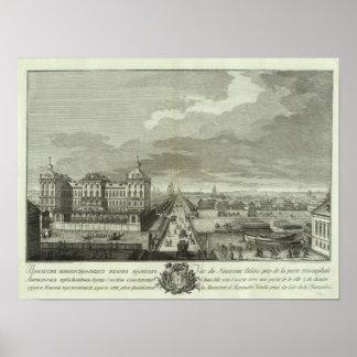 Vista grabada de St Petersburg Póster