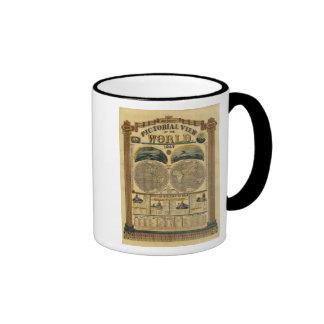 Vista ilustrada del mundo tazas de café