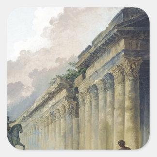 Vista imaginaria de Roma con la estatua ecuestre Pegatina Cuadrada
