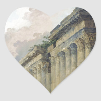 Vista imaginaria de Roma con la estatua ecuestre Pegatina En Forma De Corazón