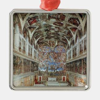Vista interior de la capilla de Sistine Adorno Navideño Cuadrado De Metal