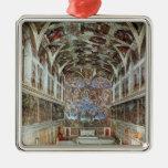 Vista interior de la capilla de Sistine Adorno Cuadrado Plateado