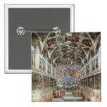 Vista interior de la capilla de Sistine Pin Cuadrada 5 Cm