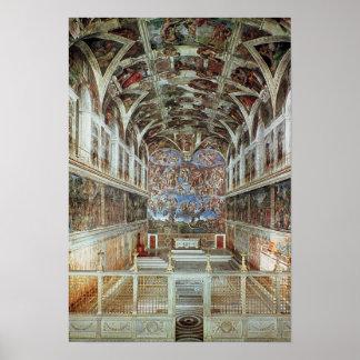 Vista interior de la capilla de Sistine Póster