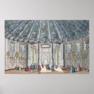 Vista interior del cuarto elegante de la música impresiones