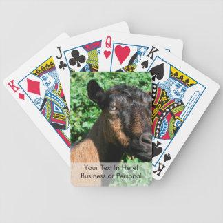 vista lateral de la gama de la cabra del oberhasli cartas de juego