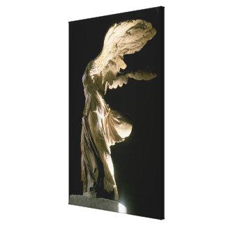 Vista lateral de la victoria de Samothrace (Parian Impresión En Lienzo Estirada