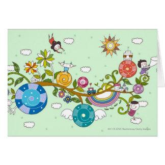 Vista lateral de los niños que juegan en rama de tarjeta de felicitación
