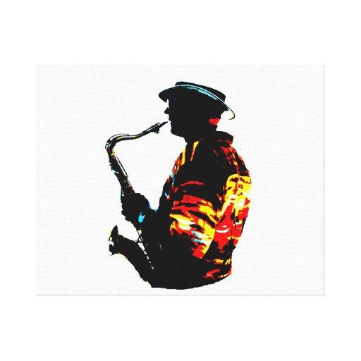Vista lateral tropical del jugador de saxofón impresión de lienzo