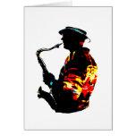 Vista lateral tropical del jugador de saxofón tarjeton