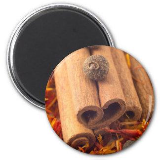 Vista macra del cinnamone, del grano de pimienta y imanes