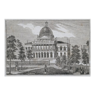 Vista meridional de la casa del estado en Boston Posters