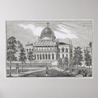 Vista meridional de la casa del estado en Boston Póster
