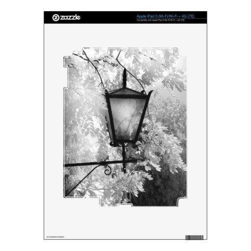 Vista negra y blanca de la lámpara pegatina skin para iPad 3