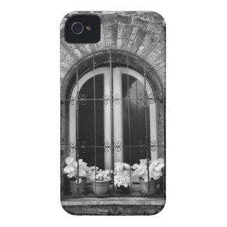 Vista negra y blanca de la ventana y de macetas iPhone 4 Case-Mate carcasa