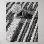 Vista negra y blanca del pequeño granero de piedra impresiones