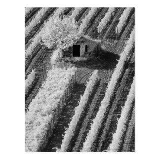 Vista negra y blanca del pequeño granero de piedra postales