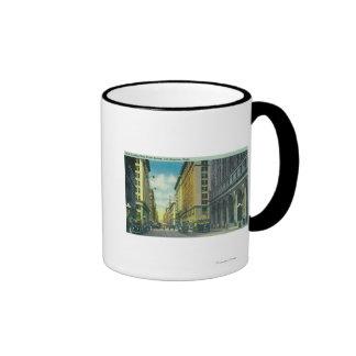 Vista occidental de la 7ma calle de la calle de la tazas de café