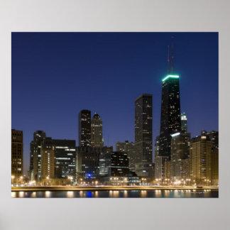 Vista panorámica de la orilla del lago de Chicago  Póster